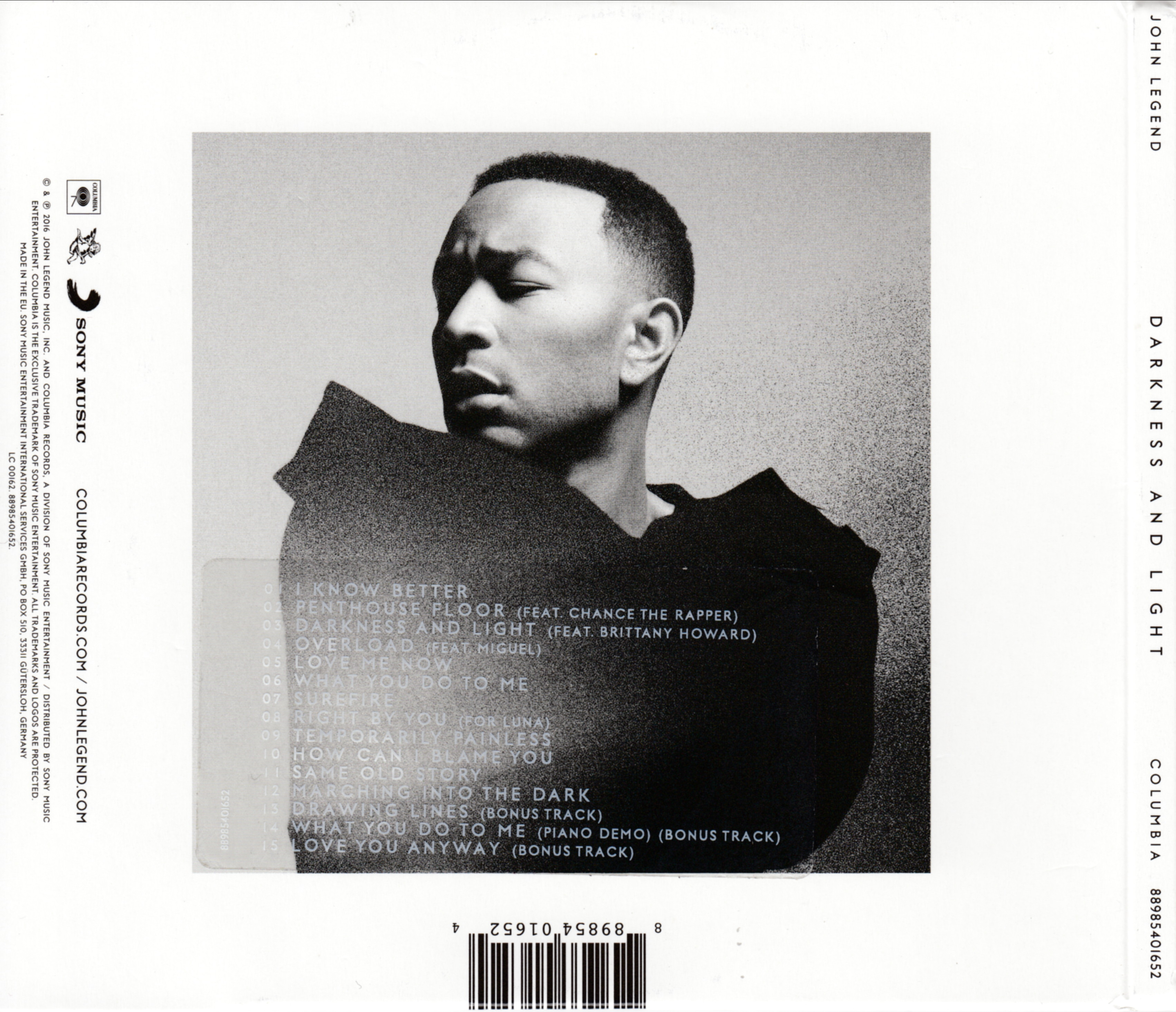 John Legend Darkness And Light Deluxe Edition back | CD ...