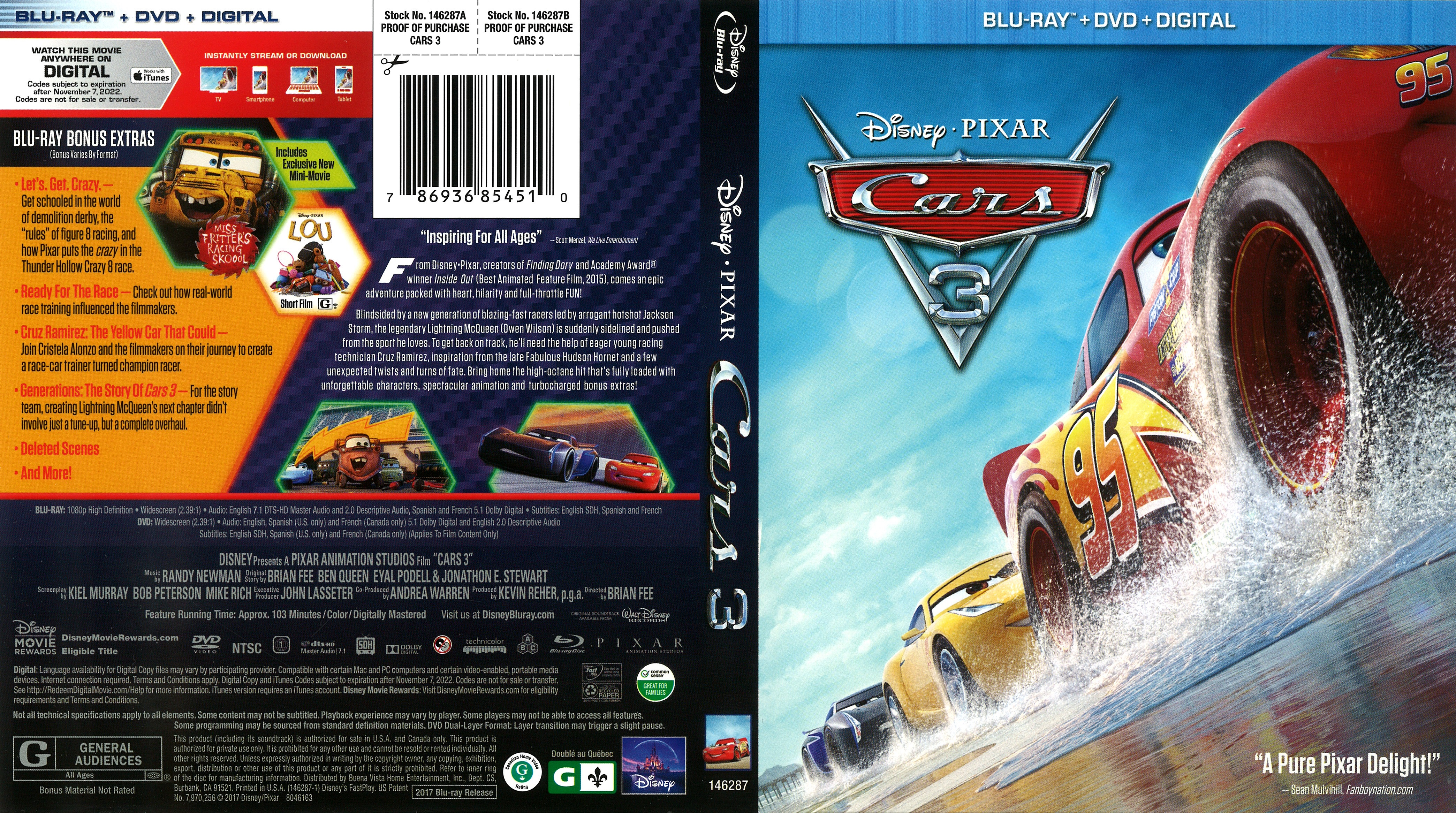 cars 3 2017 front blu ray covers cover century. Black Bedroom Furniture Sets. Home Design Ideas