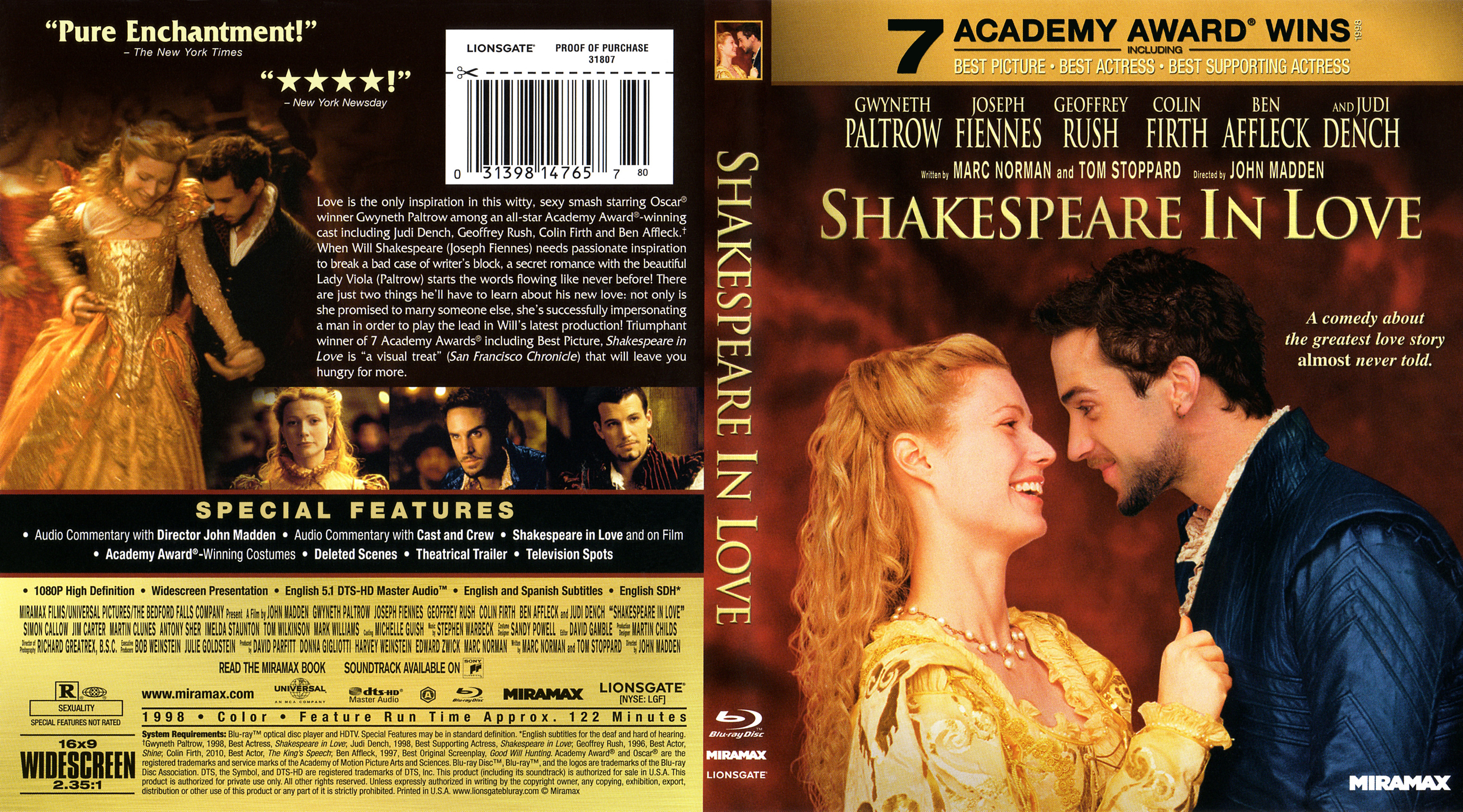 an overview of the film shakespeare in love Shakespeare in love is a 1998 american romantic period comedy-drama film directed by john madden, written by marc norman and playwright tom stoppard the film depicts an imaginary love affair involving viola de lesseps (gwyneth paltrow) and playwright william shakespeare (joseph fiennes) while he was writing romeo and juliet.