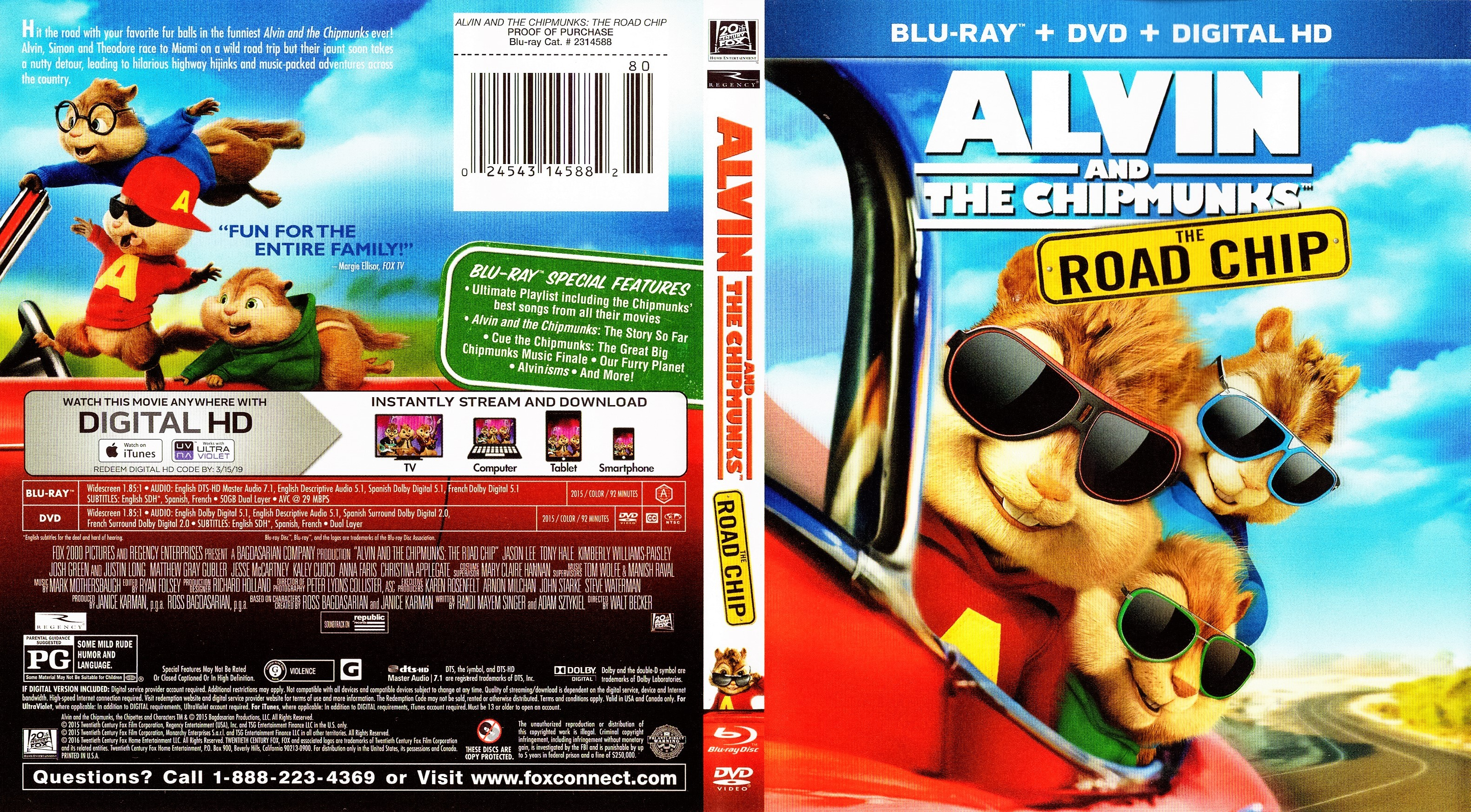 Alvin and the Chipmunks The Road Chip 2015 R1 Blu-Ray DVD