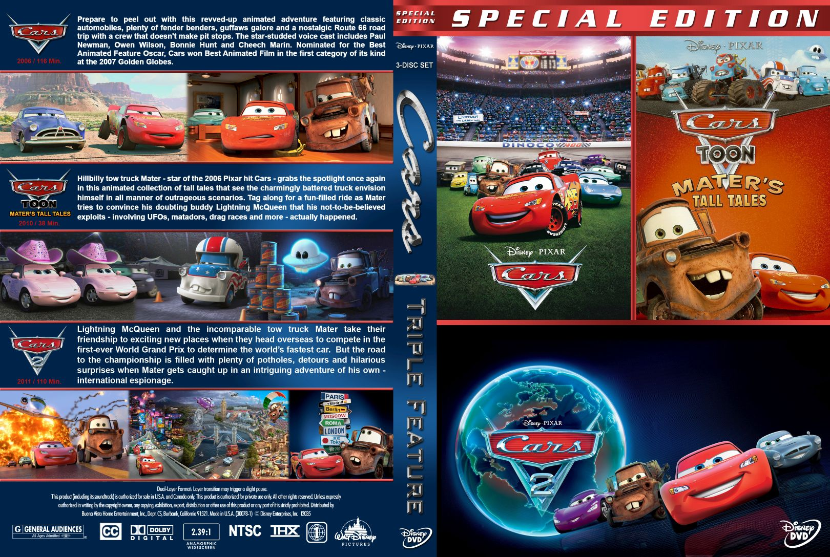 Cars Triple Dvd Covers Cover Century Over 500 000 Album Art