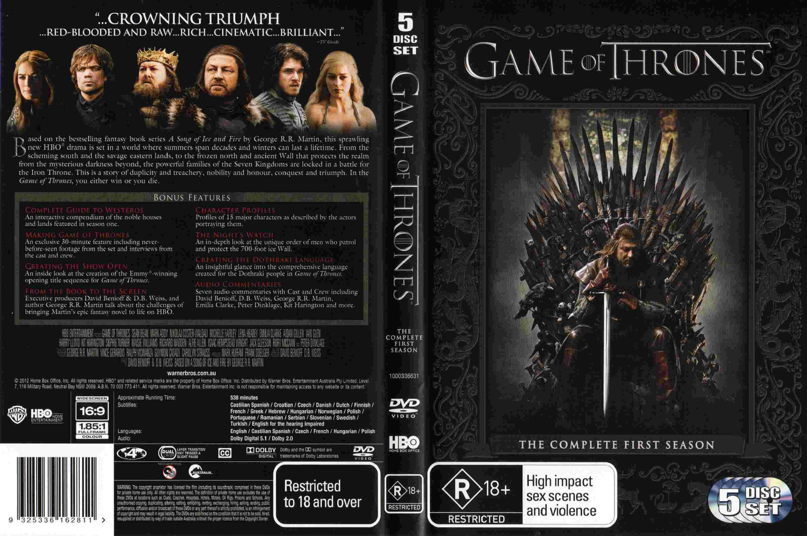 Game Of Thrones Season 1 2012 R4 Dvd Cover Dvd Covers