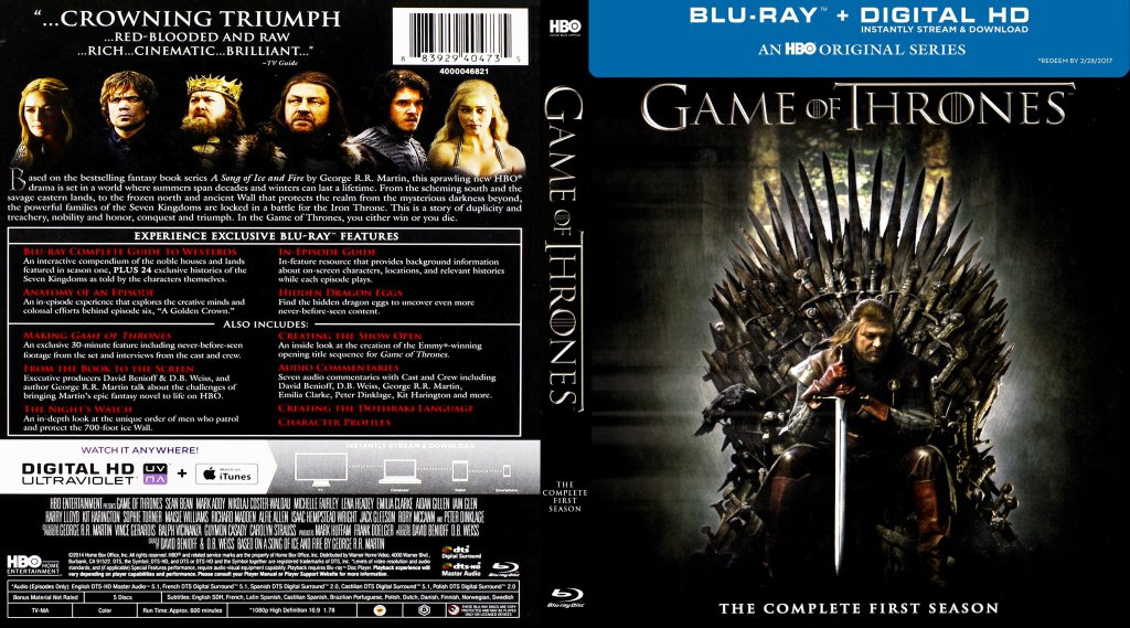 Game Of Thrones Season 1 Blu Ray Dvd Covers Cover