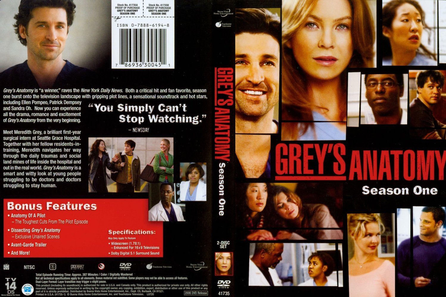 Greys Anatomy Season 1 Dvd Us Dvd Covers Cover Century Over