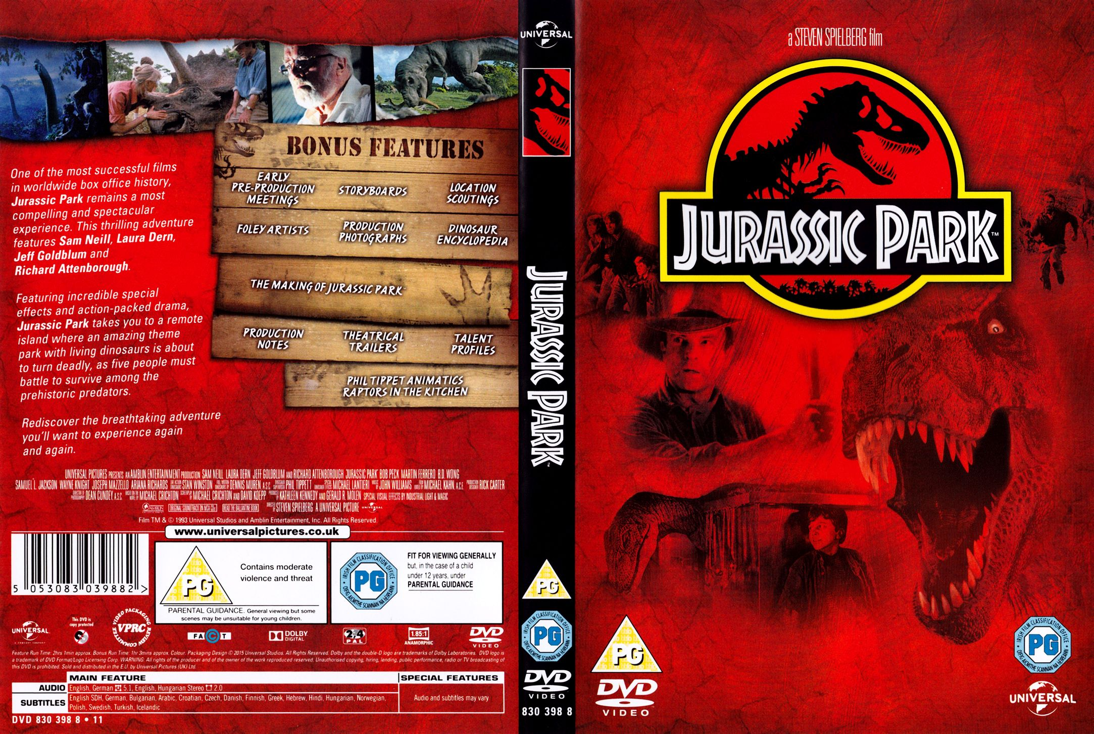 jurassic park 1993 r2 cover | DVD Covers | Cover Century