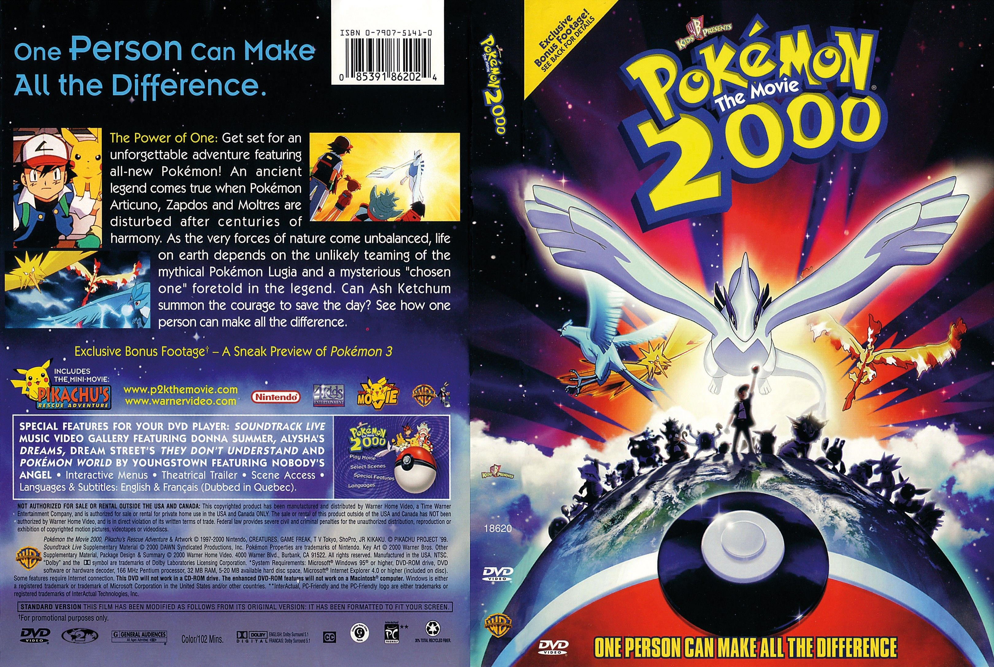 Pokemon The Movie 2000 Dvd Us Dvd Covers Cover Century Over