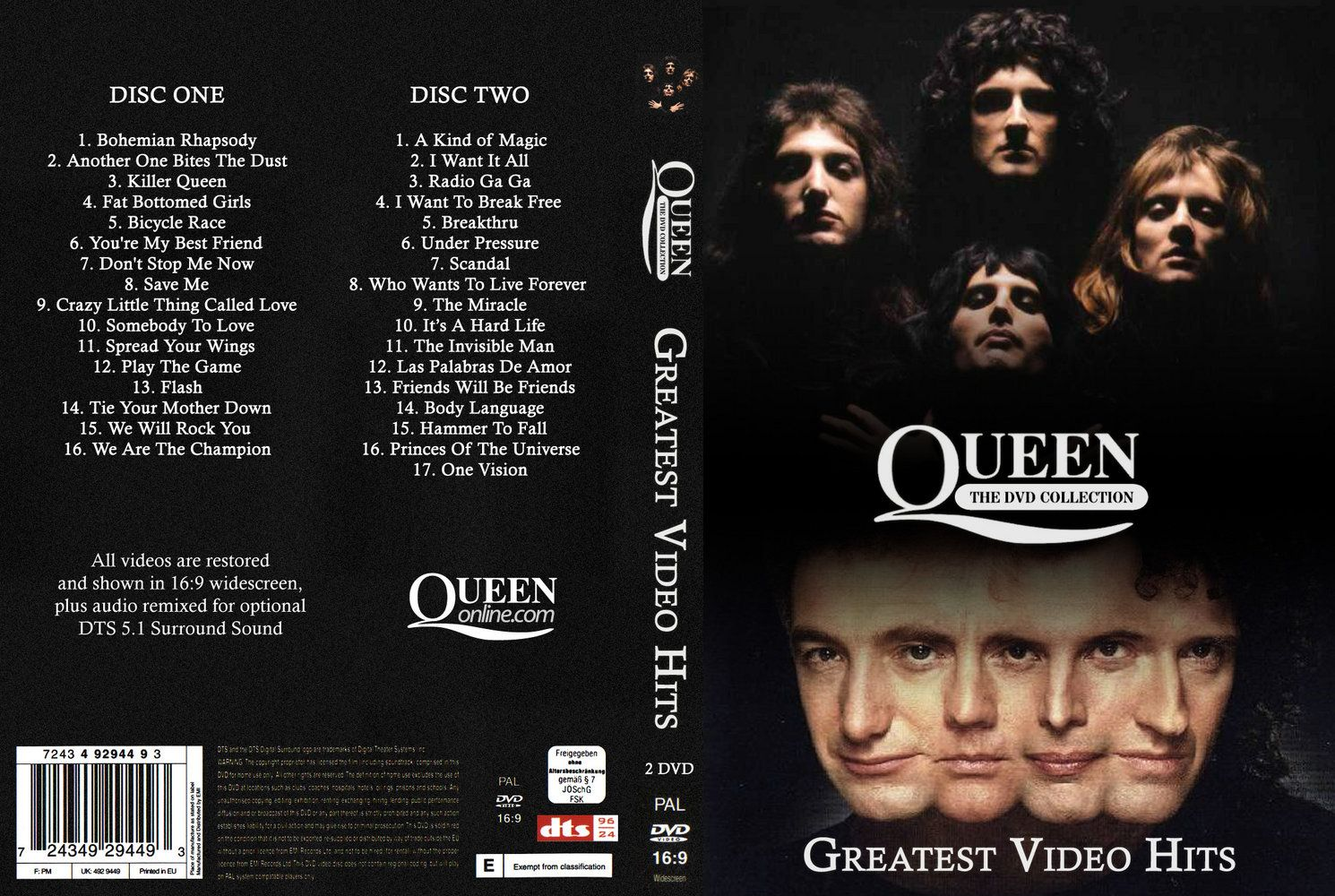 Queen Greatest Video Hits Vol  01 DVD US | DVD Covers