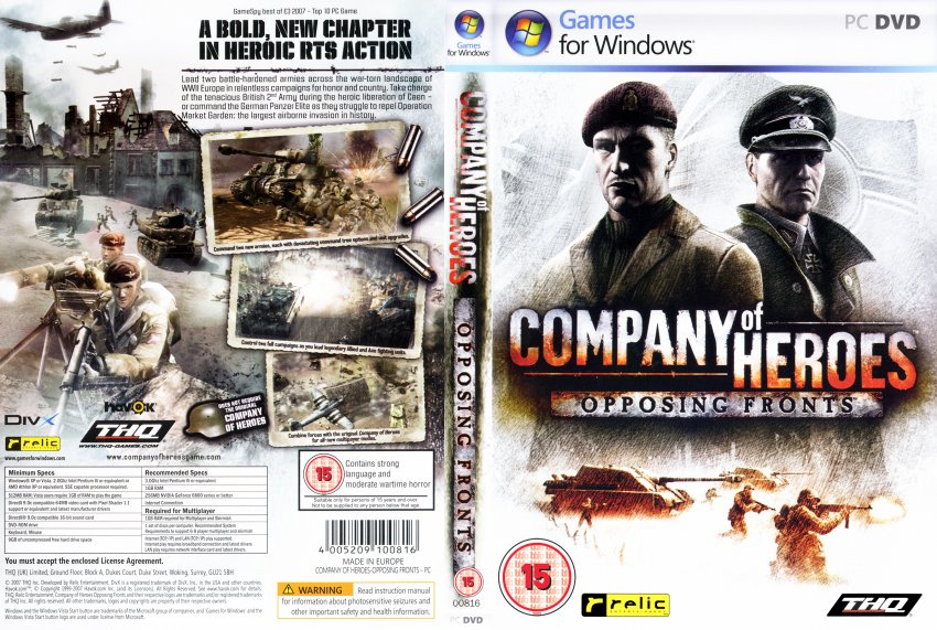Company Of Heroes Opposing Fronts Dvd Pal F Pc Covers Cover Century Over 500 000 Album Art Covers For Free
