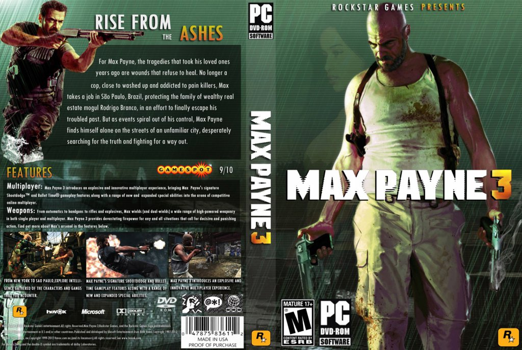 Max Payne 3 Dvd Ntsc Custom F3 Pc Covers Cover Century Over