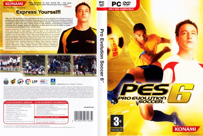 Pro Evolution Soccer 6 DVD PAL f | PC Covers | Cover Century