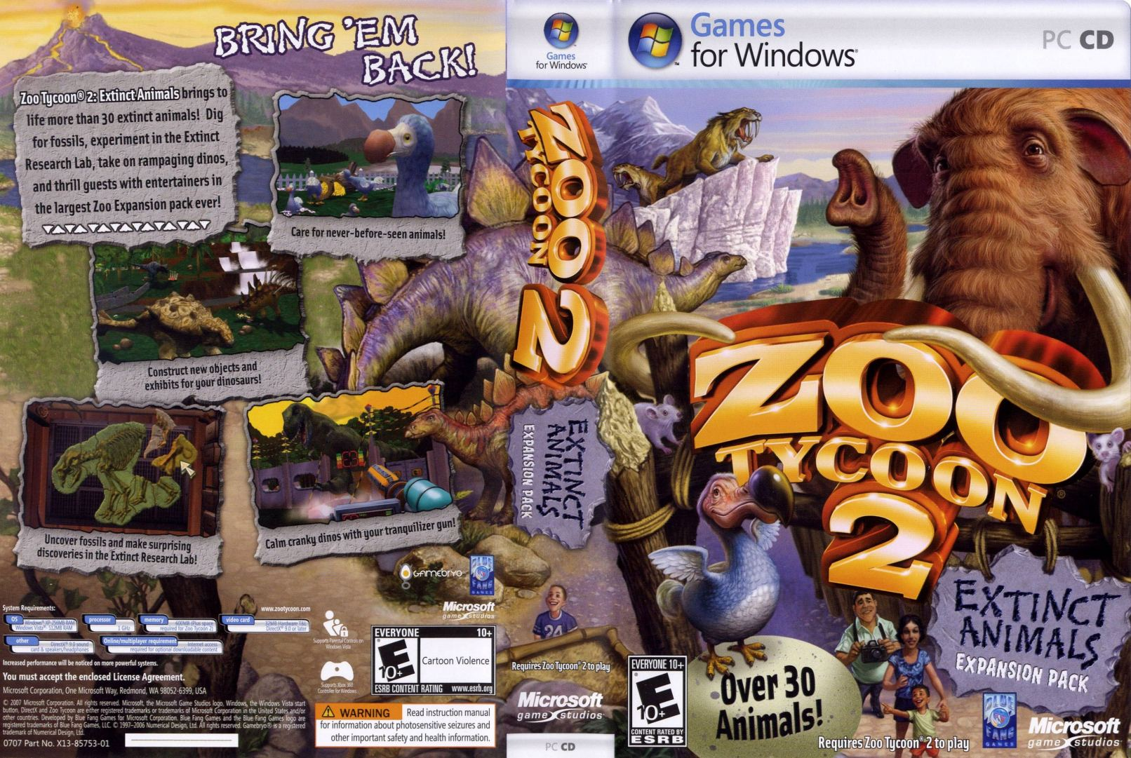 zoo tycoon 2 extinct animals d | PC Covers | Cover Century