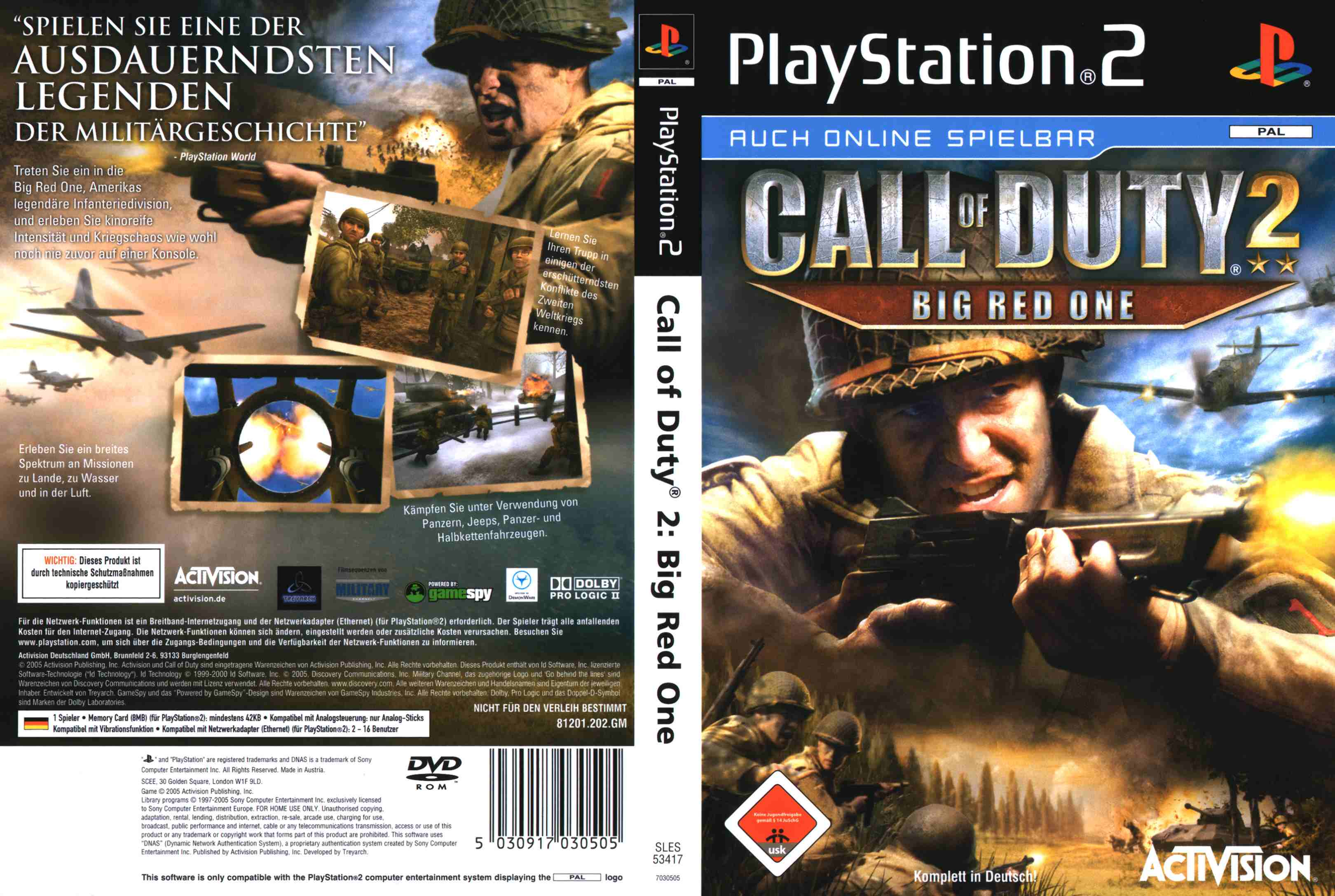call of duty 2 big red one ps2 dvd | Playstation 2 Covers
