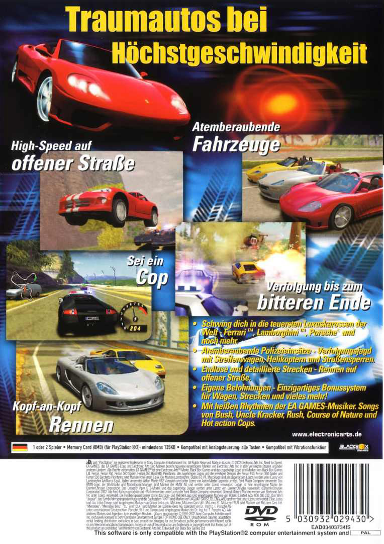 Need For Speed Hot Pursuit 2 Pal De Back Playstation 2 Covers