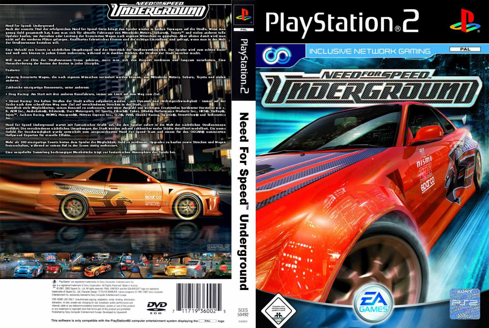 Need For Speed Underground Full Playstation 2 Covers Cover