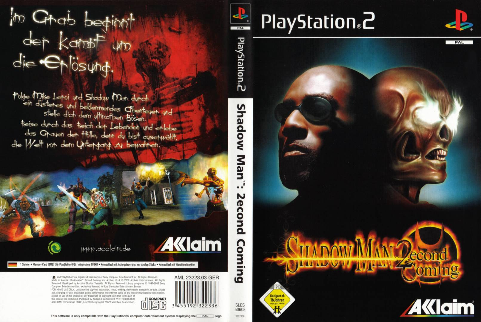 Shadow Man 2econd Coming PAL(de) Full | Playstation 2 Covers ...