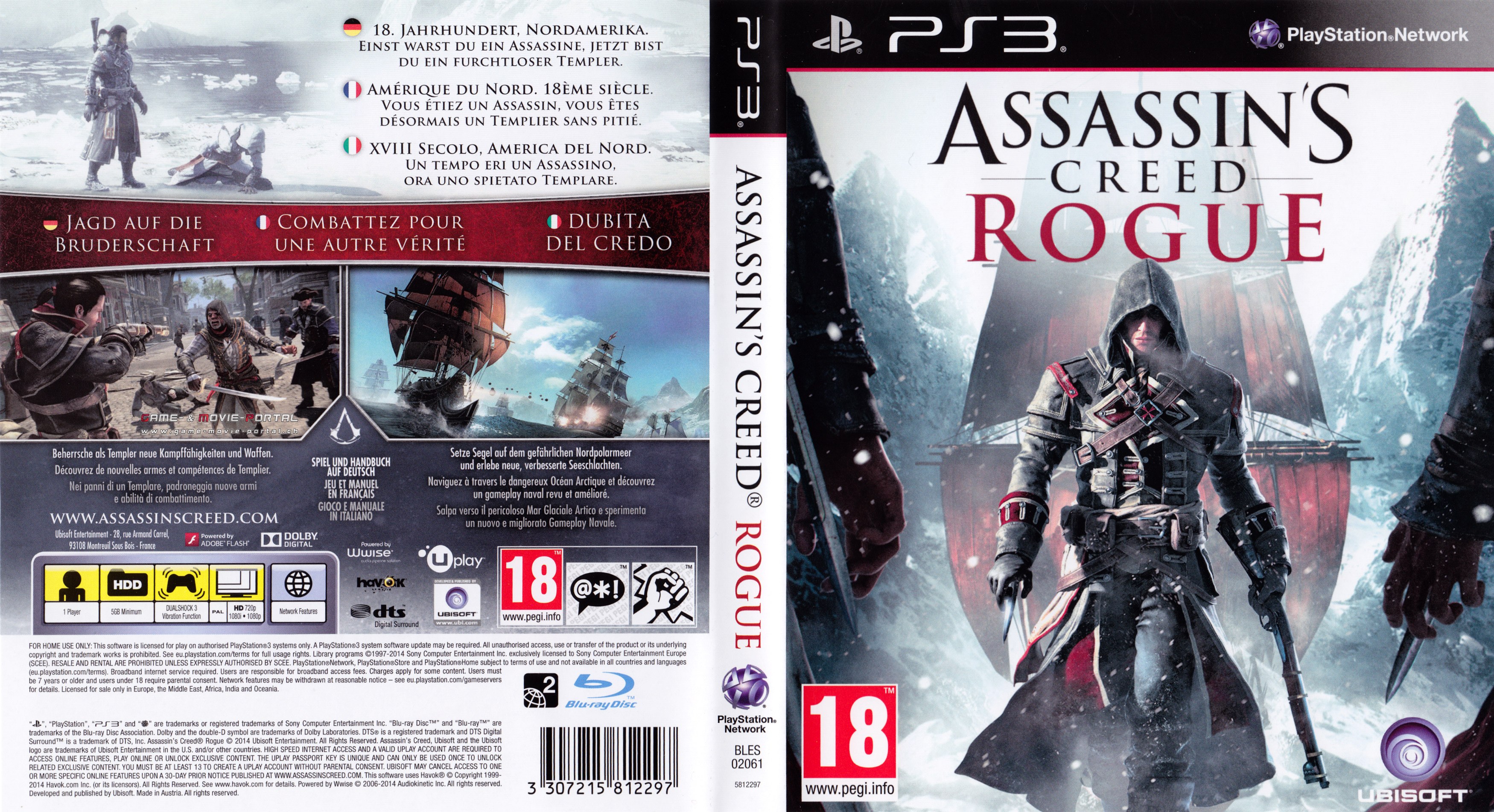 Assassins Creed Rogue Playstation 3 Covers Cover Century