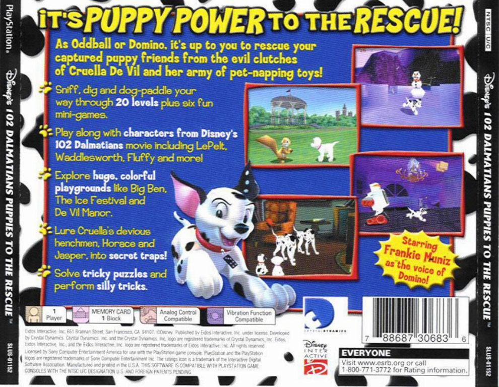 102 Dalmatians Puppies To The Rescue Ntsc Psx Back Playstation