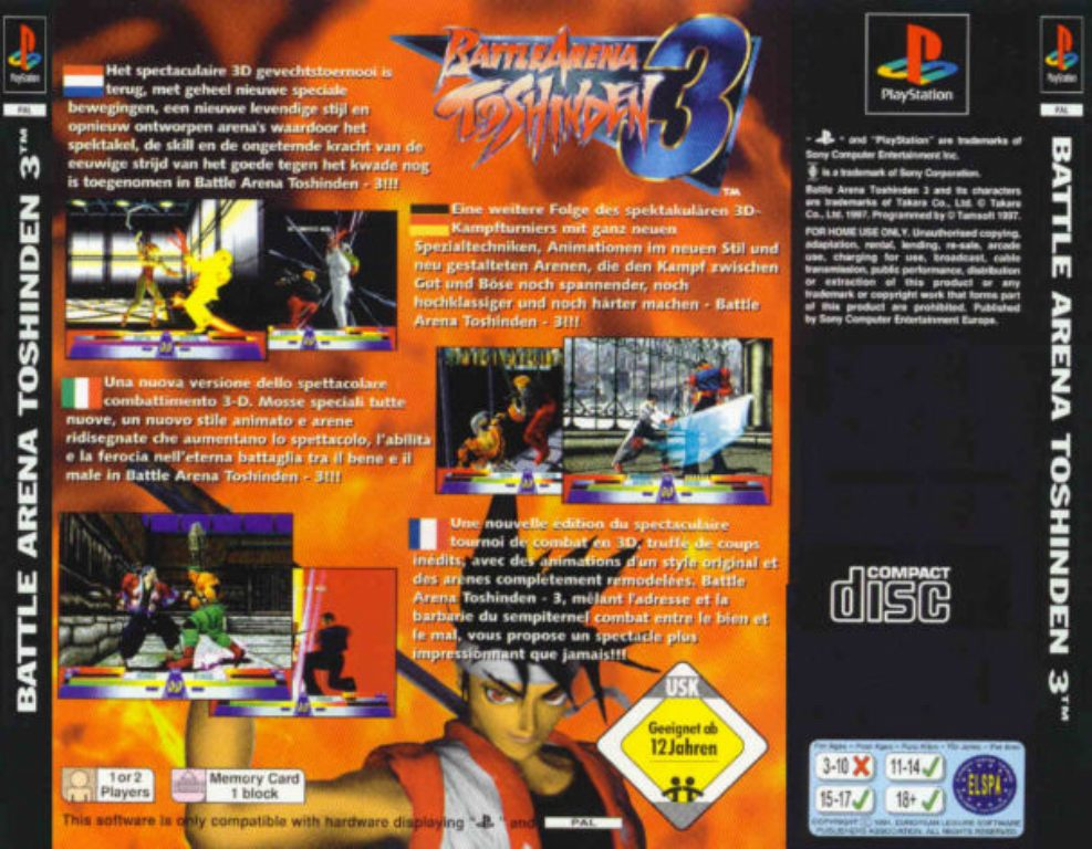 Battle Arena Toshinden 3 Pal Psx Back Playstation Covers Cover