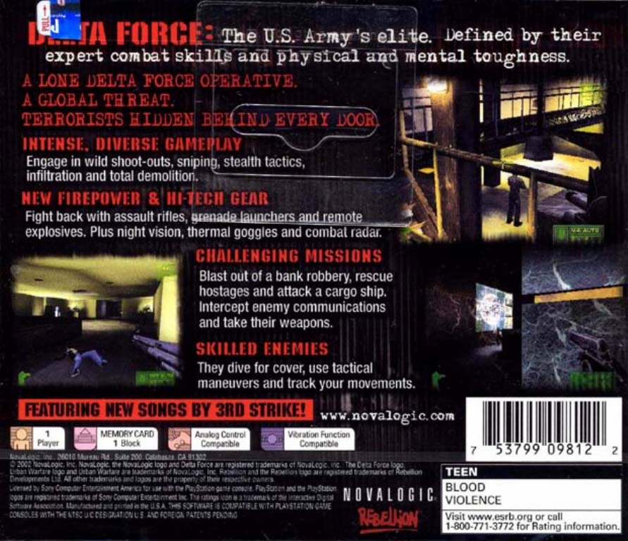 Delta Force Urban Warfare NTSC PSX BACK | Playstation Covers