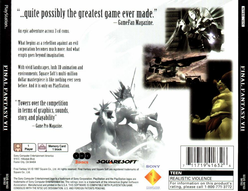 Final Fantasy 7 Ntsc Psx Back Playstation Covers Cover