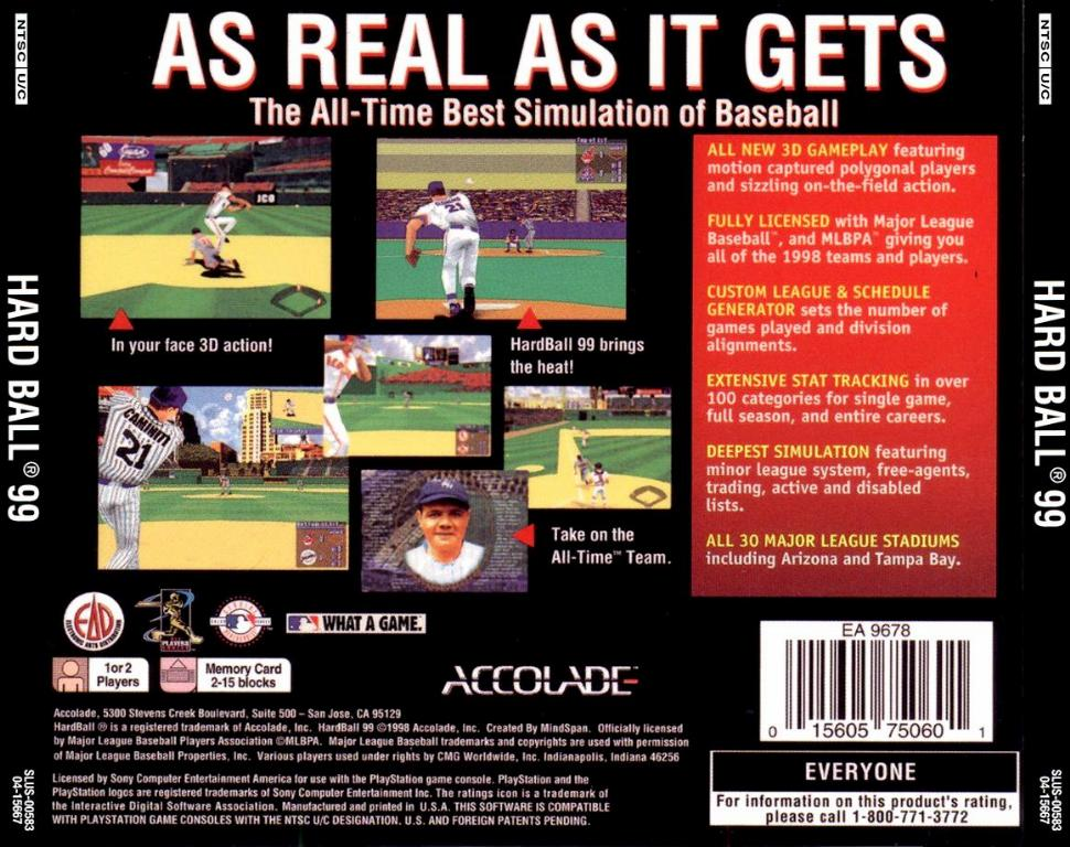 Hard Ball 99 NTSC PSX BACK | Playstation Covers | Cover