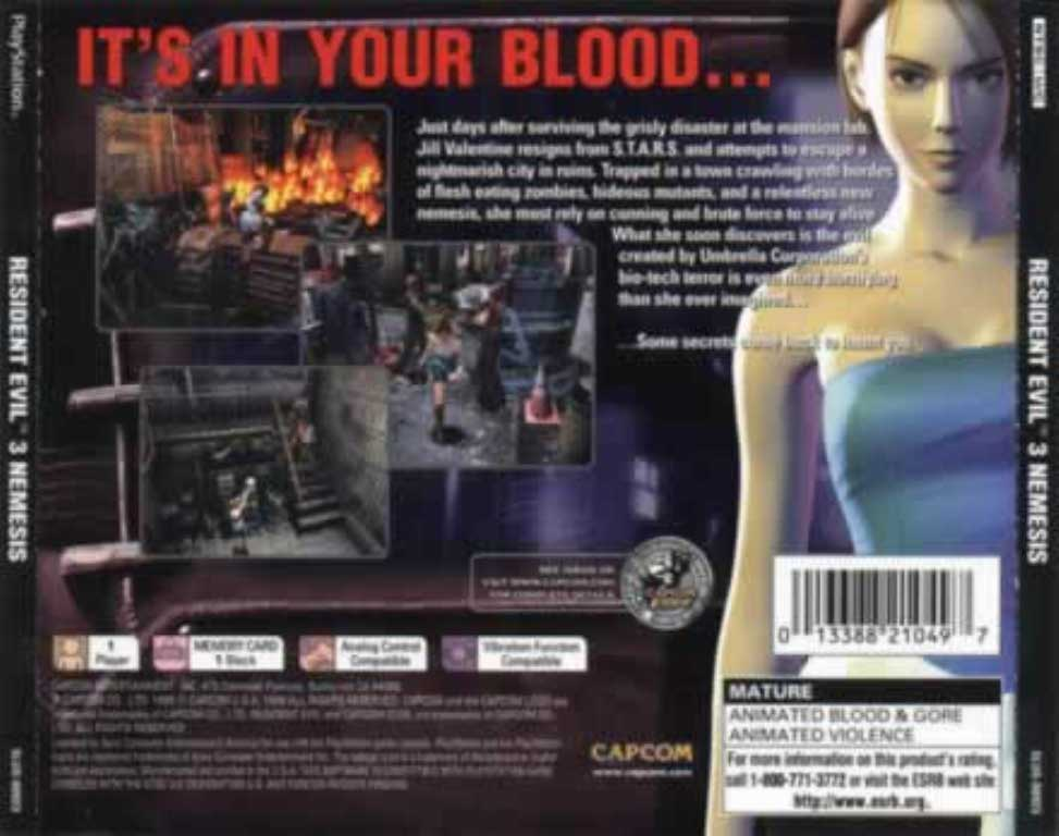 Resident Evil 3 Nemesis Ntsc Psx Back Playstation Covers Cover