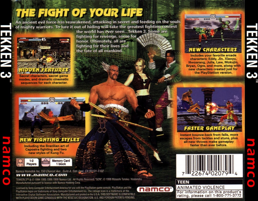 Tekken 3 NTSC PSX BACK | Playstation Covers | Cover Century | Over