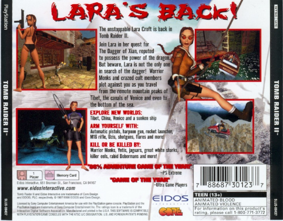 Tomb Raider 2 Ntsc Psx Back Playstation Covers Cover Century