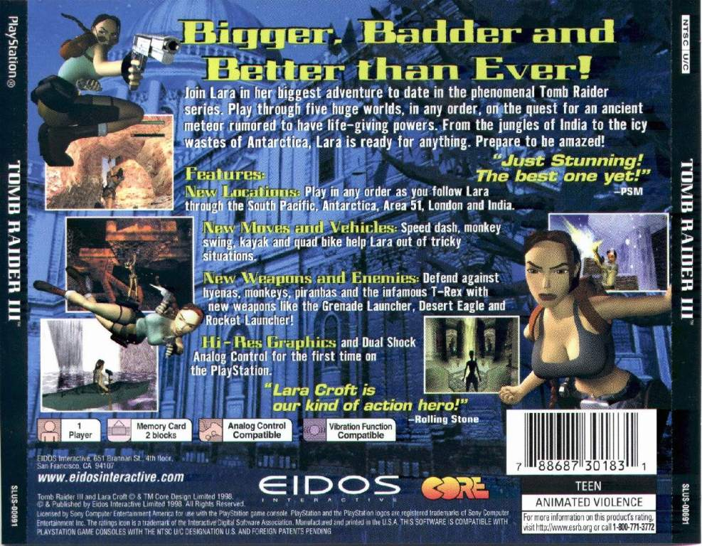 Tomb Raider 3 Ntsc Psx Back Playstation Covers Cover Century