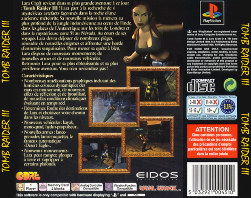 Tomb Raider 3 Pal Psx Back Playstation Covers Cover Century