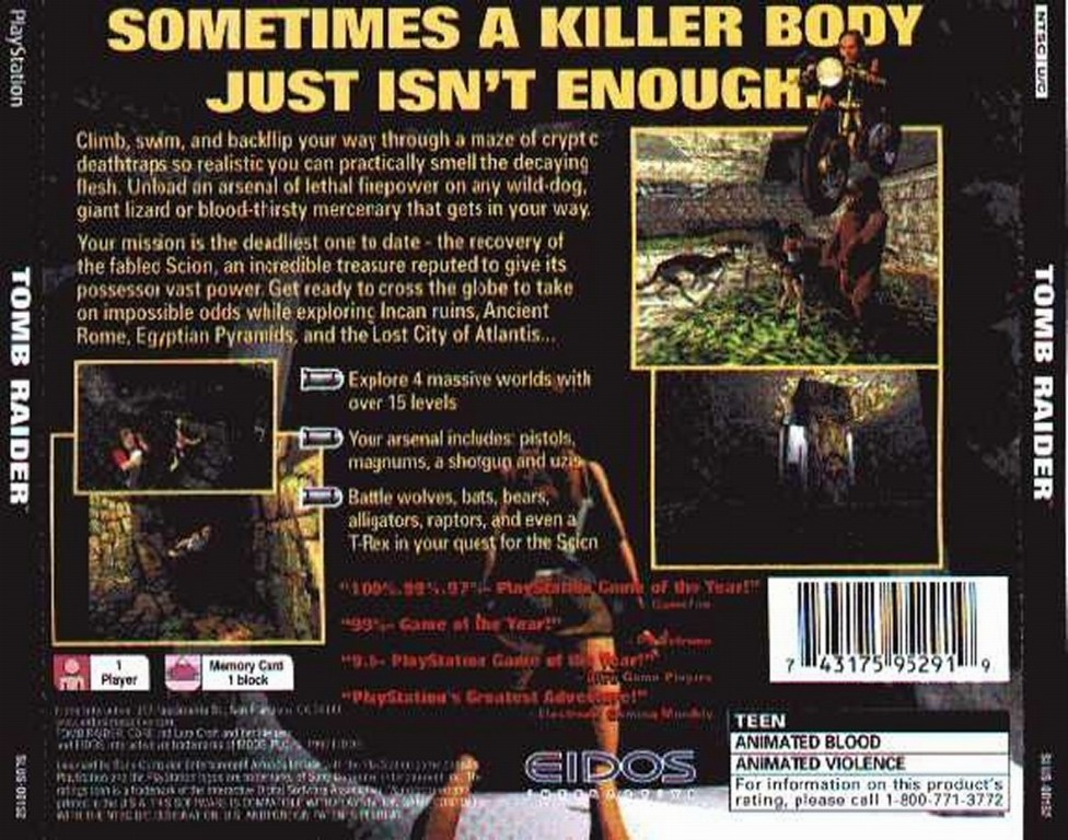 Tomb Raider Ntsc Psx Back Playstation Covers Cover Century