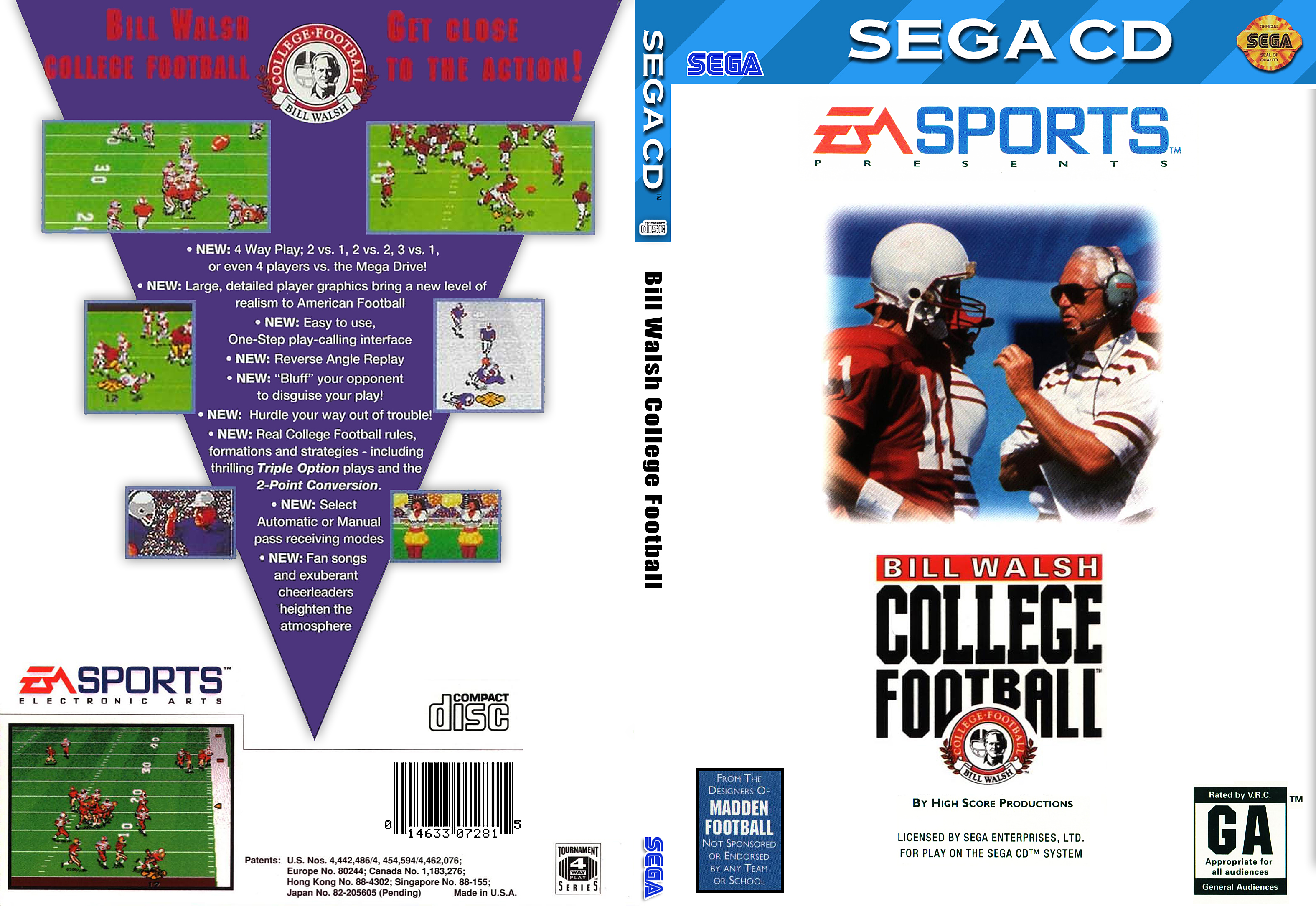 Bill Walsh College Football Sega Cd Covers Cover Century Over