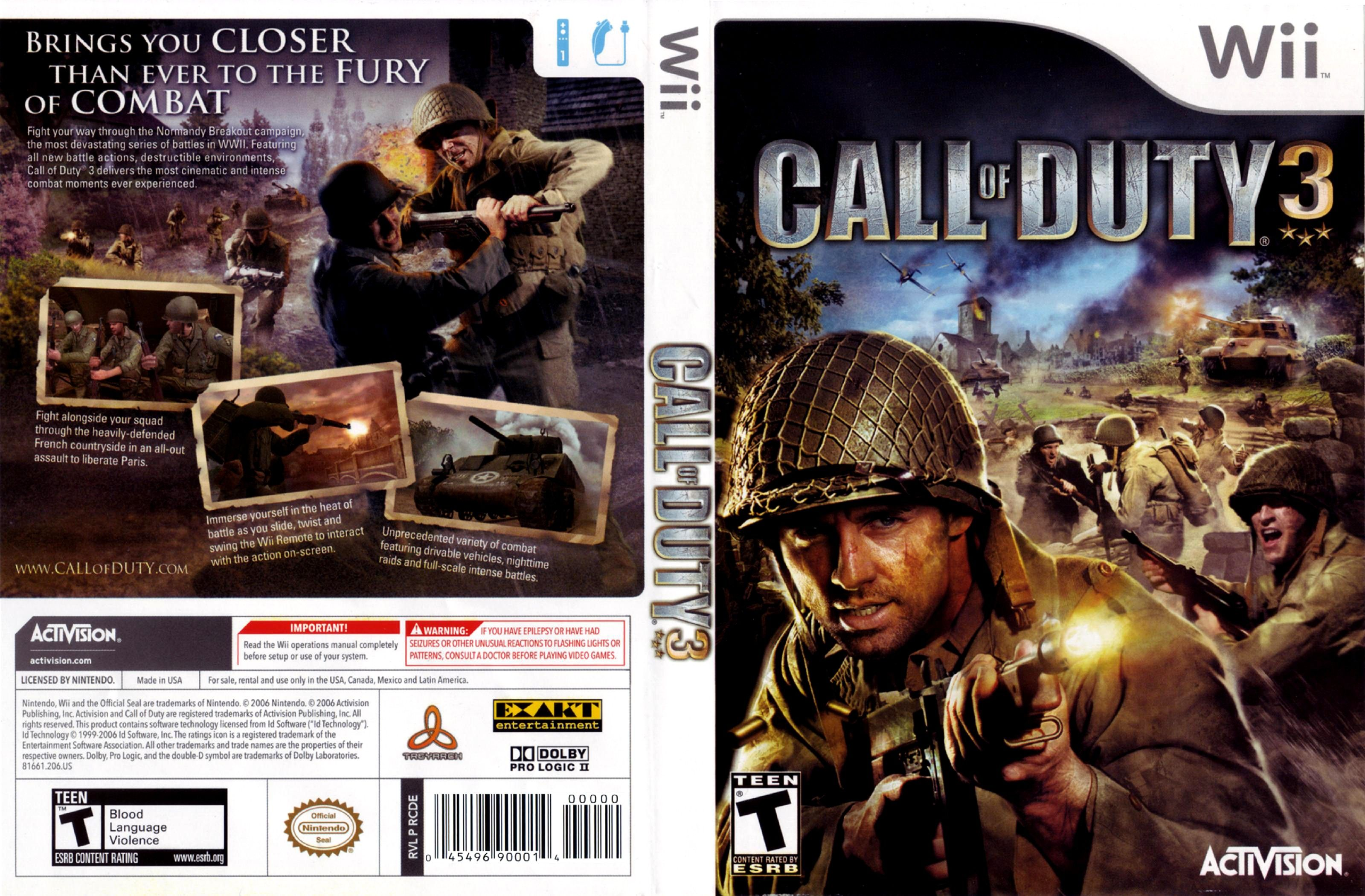Call Of Duty 3 NTSC Wii FULL | Wii Covers | Cover Century