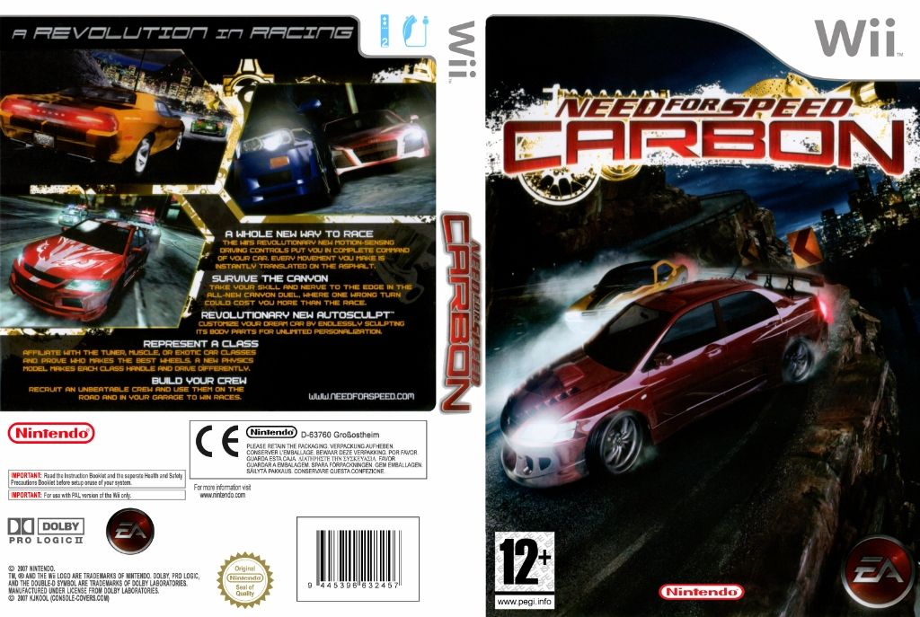 need for speed carbon pal wii full wii covers cover. Black Bedroom Furniture Sets. Home Design Ideas