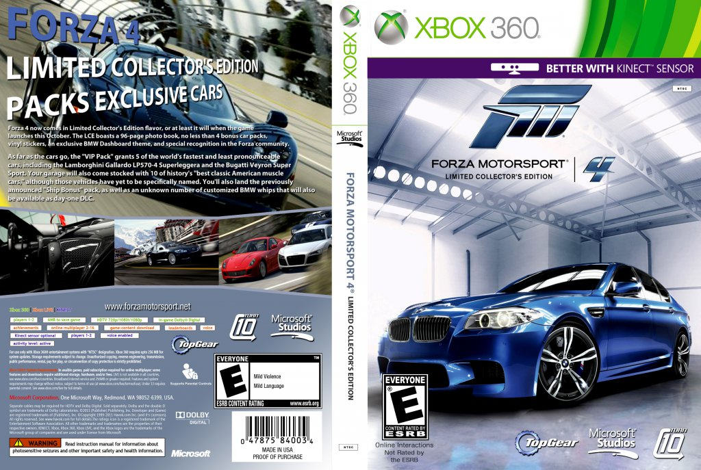 Forza Motorsport 4 Limited Collectors Edition DVD NTSC Custom F