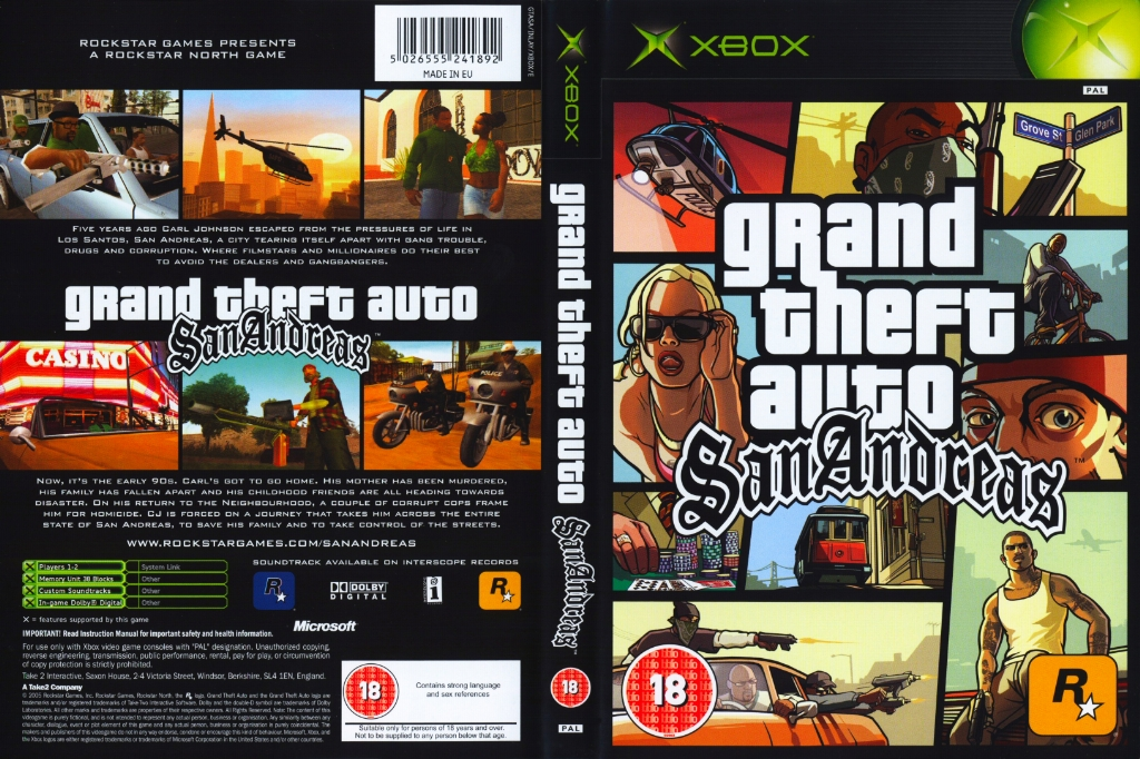 Grand Theft Auto San Andreas PAL XBOX FULL | XBOX Covers ...