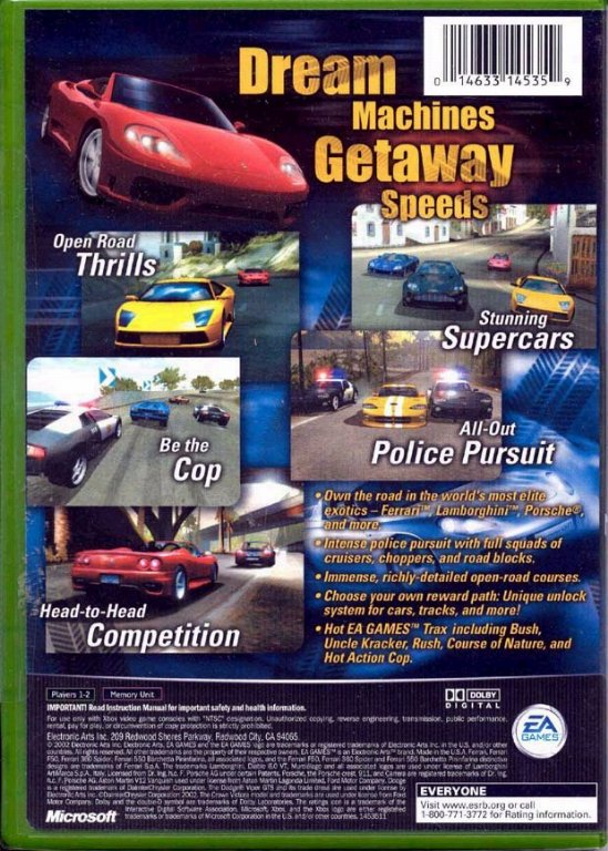 Need For Speed Hot Pursuit 2 Ntsc Xbox Back Xbox Covers Cover