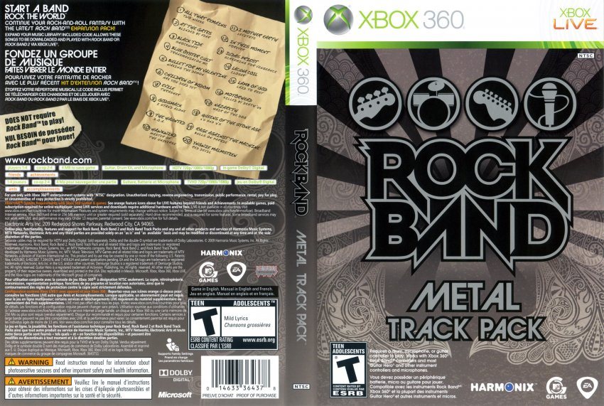 Rock Band Track Pack Metal DVD English French NTSC f | XBOX Covers